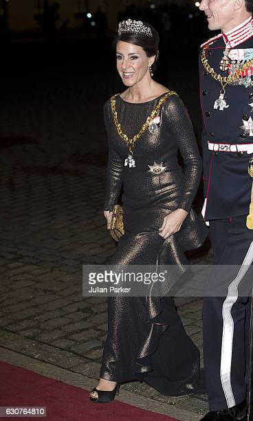 Princess Marie of Denmark arrives at the Traditional New Year's Banquet hosted by Queen Margrethe of Denmark at Amalienborg Palace on January 1 in...