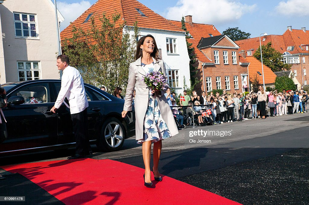 Princess Marie of Denmark arrives to the opening ceremony of ceramic art company, Kähler's, new head quarter and historic exhibition in Naestved on September 27, 2016, in Denmark. Kähler was founded in 1839.