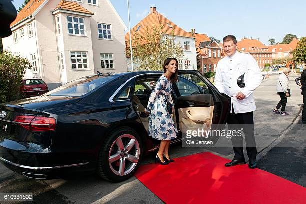 Princess Marie of Denmark arrives to the opening ceremony of old ceramic art company Kähler's new head quarter and historic exhibition in Naestved on...