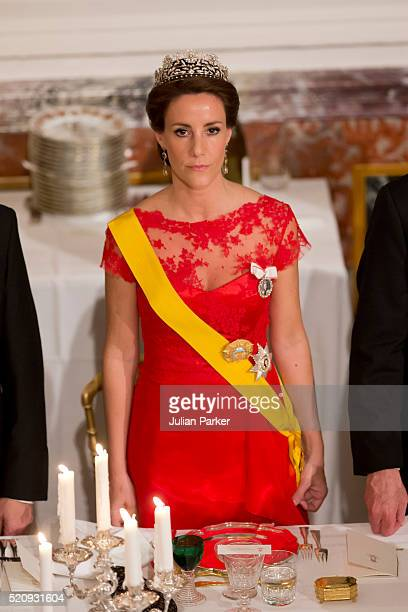 Princess Marie of Denmark attends a State Banquet at Fredensborg Palace on the first day of a State visit of the President of The United Mexican...