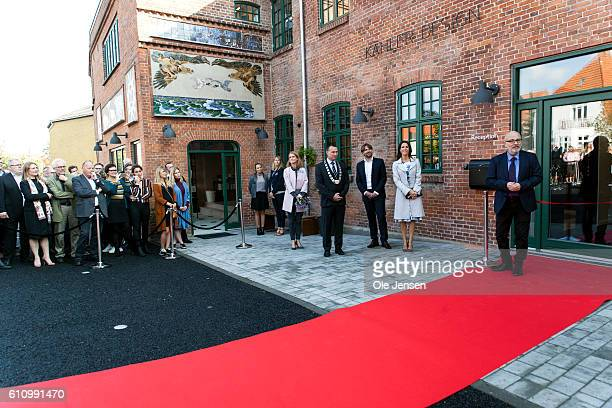 Princess Marie of Denmark attends the opening ceremony of ceramic art company Kähler's new head quarter and historic exhibition in Naestved on...