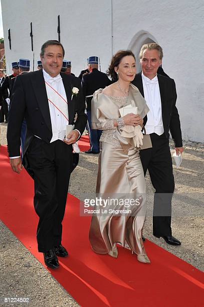 Princess Marie of Denmark, Countess of Monpezat, parents Alain Cavallier and Madame Christian Grassiot depart after Prince Joachim of Denmark and...