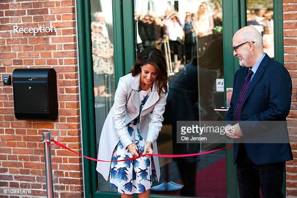 Princess Marie of Denmark cura the red band at the opening ceremony of old ceramic art company Kähler's new head quarter and historic exhibition in...