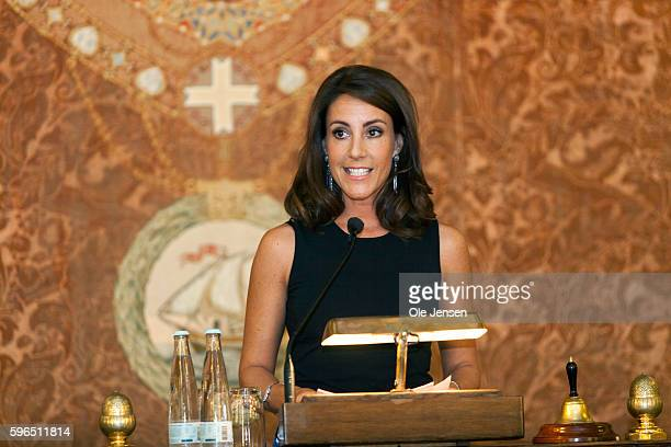 Princess Marie of Denmark holds the opening speech at the international food summit 'Better Food For More People' at Copenhagen City Hall in Denmark...