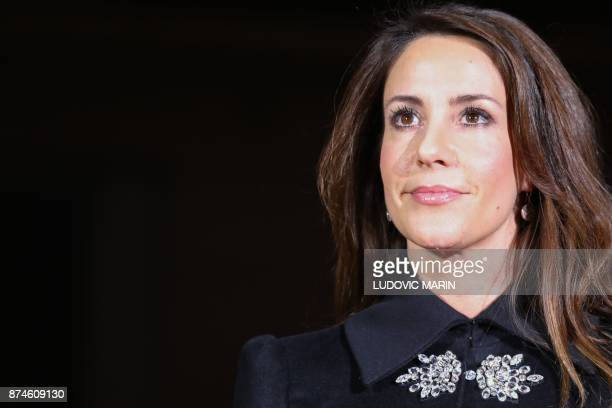 Princess Marie of Denmark poses in front of the BHV Marais in Paris on November 15 as the Princess turned on the Christmas lights at the iconic store...