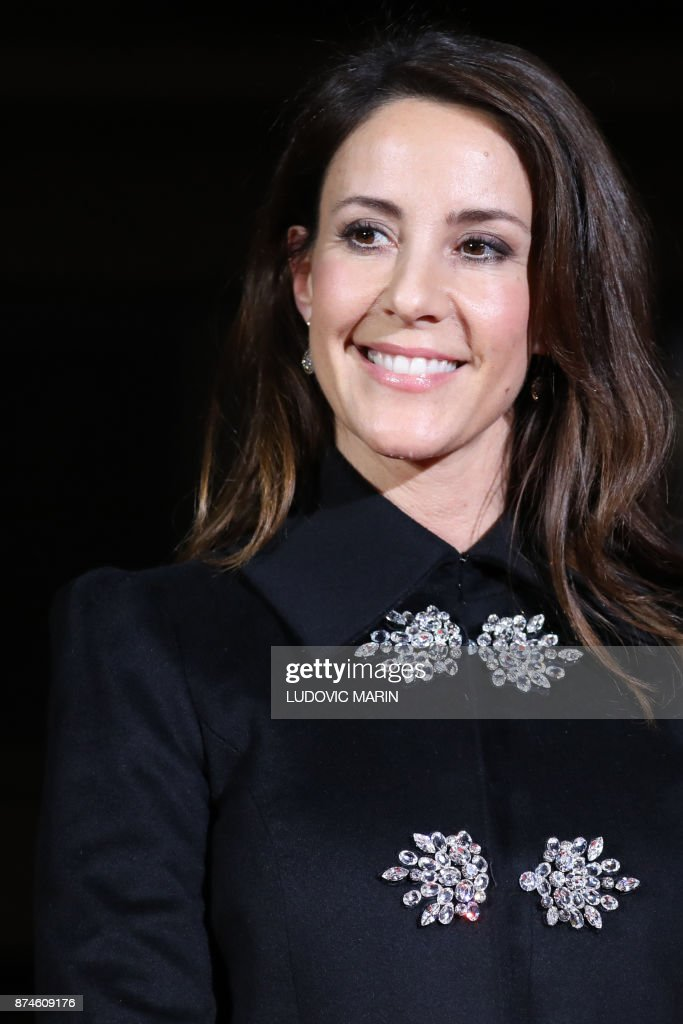 Princess Marie of Denmark poses in front of the BHV Marais in Paris on November 15, 2017, as the Princess turned on the Christmas lights at the iconic store in the centre of the French capital. /
