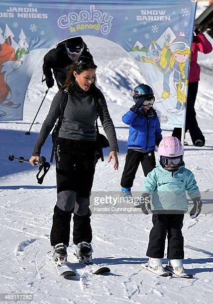 Princess Marie of Denmark, Prince Henrik of Denmark and Princess Athena of Denmark attend the Danish Royal family annual skiing photocall whilst on...
