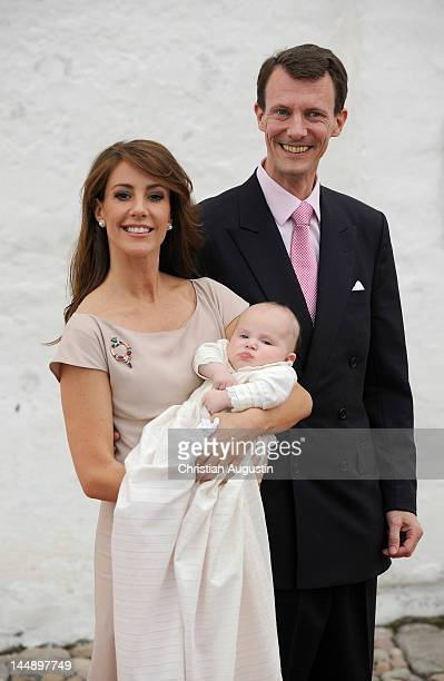 Princess Marie of Denmark Prince Joachim of Denmark and Princess Athena of Denmark attend the christening of Princess Athena of Denmark at...