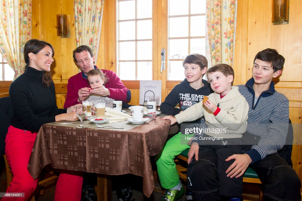 Princess Marie of Denmark, Prince Joachim of Denmark, Princess Athena of Denmark, Prince Felix of Denmark, Prince Henrik of Denmark and Prince Nikolai of Denmark meet the press, whilst on skiing holiday in Villars on February 13, 2014 in Villars-sur-Ollon, Switzerland.