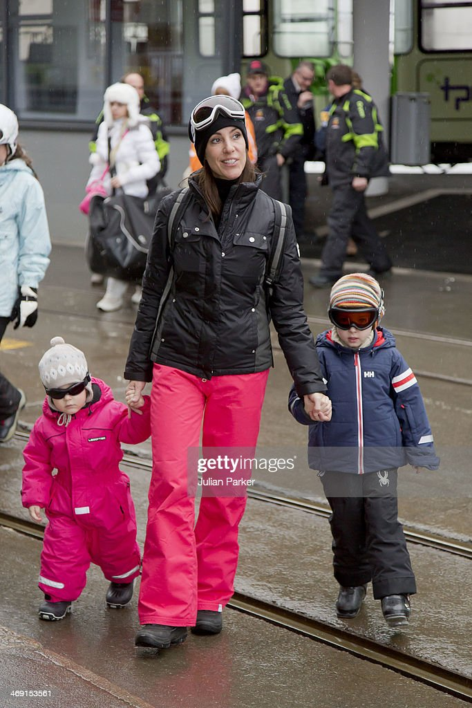 Princess Marie of Denmark, Princess Athena and Prince Henrik pose during their annual winter family holiday photocall on February 13, 2014 in Villars-sur-Ollon, Switzerland.