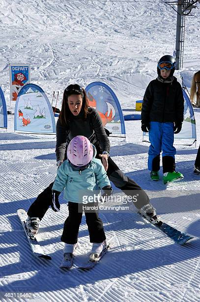 Princess Marie of Denmark, Princess Athena of Denmark and Prince Felix of Denmark attend the Danish Royal family annual skiing photocall whilst on...