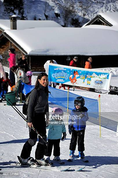Princess Marie of Denmark, Princess Athena of Denmark and Prince Henrik of Denmark attend the Danish Royal family annual skiing photocall whilst on...
