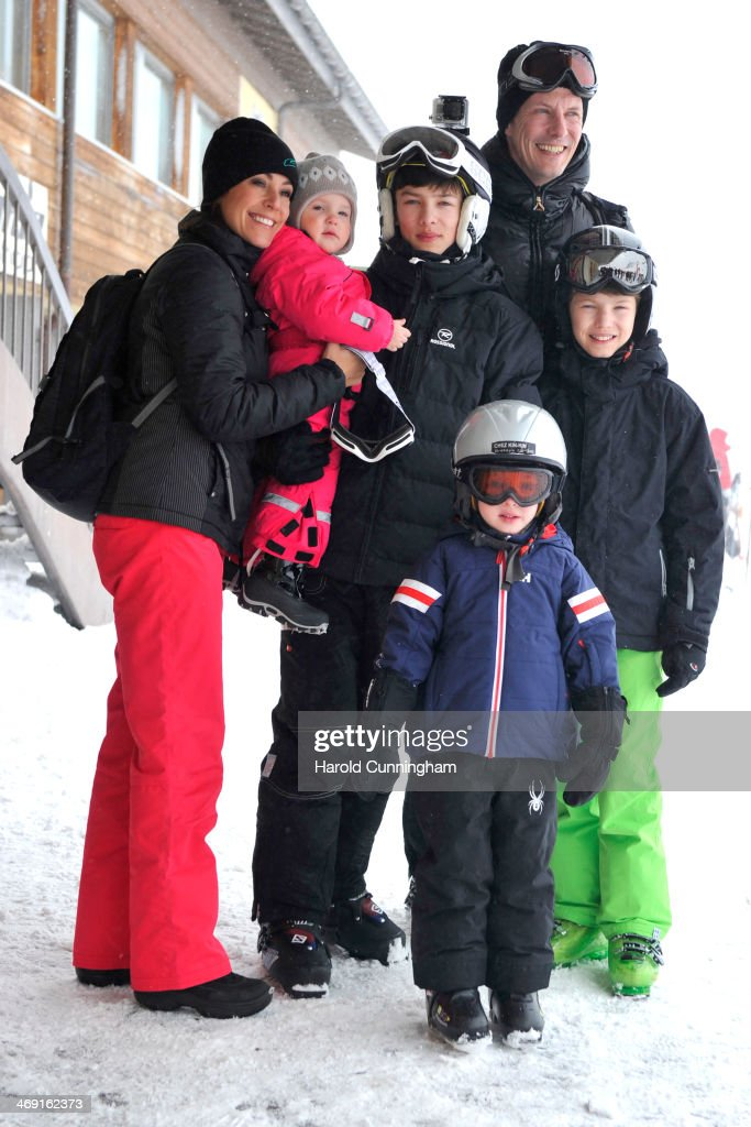 Princess Marie of Denmark, Princess Athena of Denmark, Prince Nikolai of Denmark, Prince Joachim of Denmark, Prince Felix of Denmark and Prince Henrik of Denmark meet the press, whilst on skiing holiday in Villars on February 13, 2014 in Villars-sur-Ollon, Switzerland.
