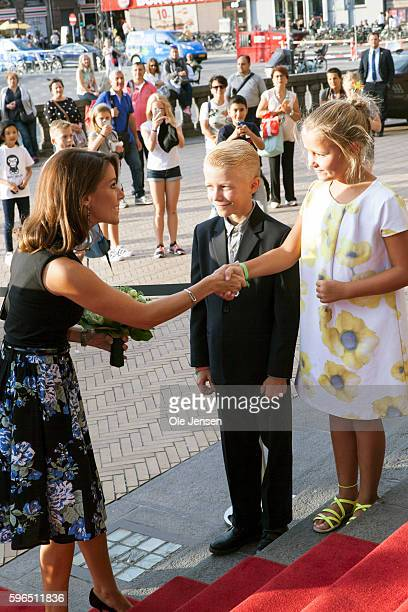 Princess Marie of Denmark receives a bouquet of flowers at her arrival to the international food summit 'Better Food For More People' opening...