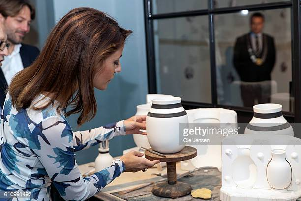 Princess Marie of Denmark visits the exhibition at Kähler during her attendance at the opening ceremony of old ceramic art company Kähler's new head...
