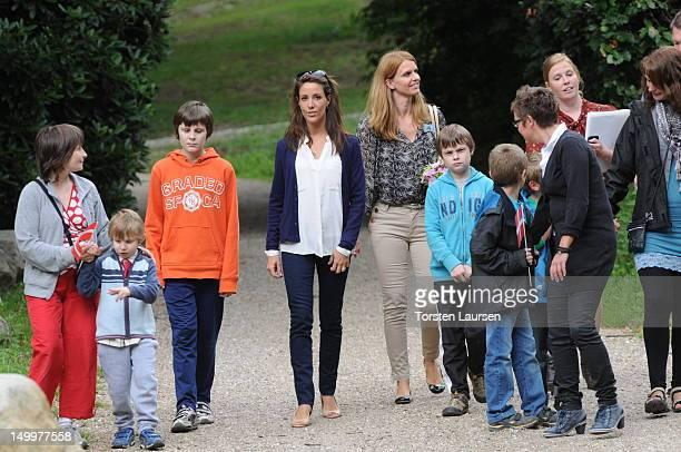 Princess Marie of Denmark visits the National Association Autism Elsinore Holiday Village on August 8, 2012 in Helsingor, Denmark.