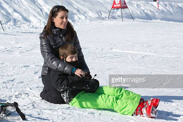 Princess Marie of Denmark with Prince Joachim's son Prince Felix pose during an annual family skiing holiday on February 13 2013 in VillarssurOllon...