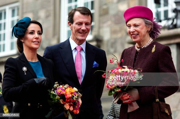 Princess Marie Prince Joachim and Princess Benedikte seen at their arrival to the Parliament to celebrate the Reformation's 500th anniversary on...