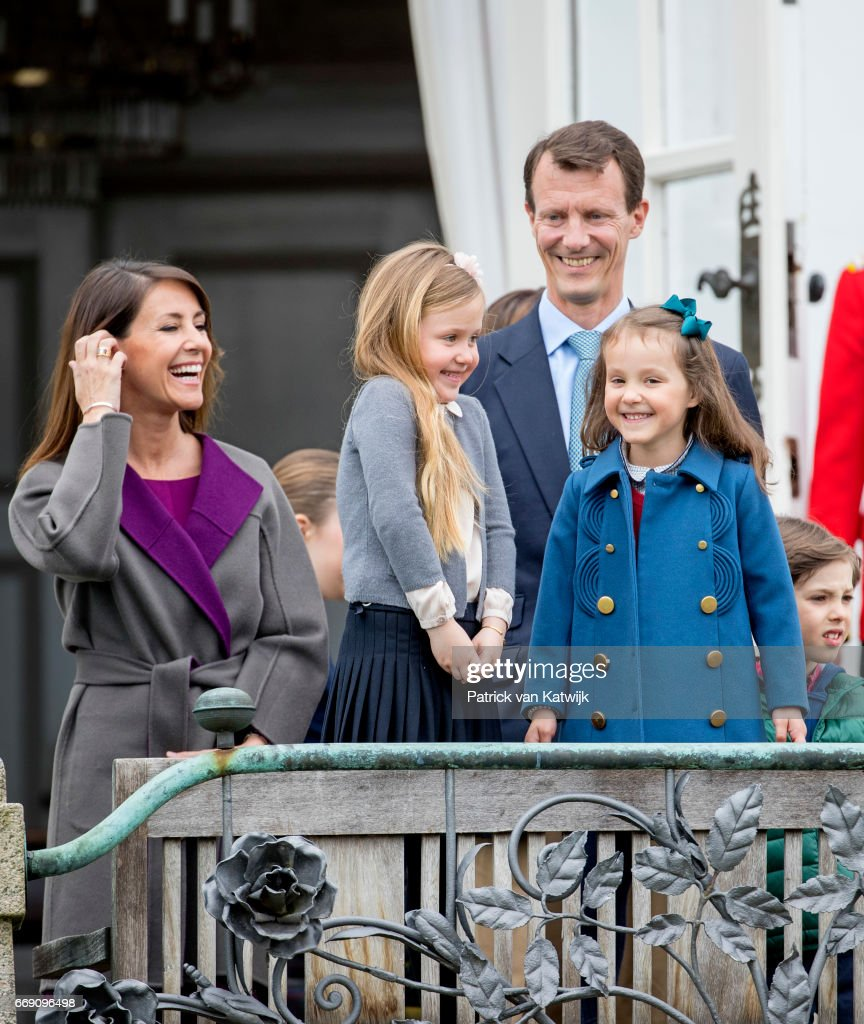 Princess Marie, Princess Josephine, Princess Athena, Prince Joachim and Prince Henrik of Denmark attend the 77th birthday celebrations of Danish Queen Margrethe at Marselisborg Palace on April 16, 2017 in Aarhus, Denmark.
