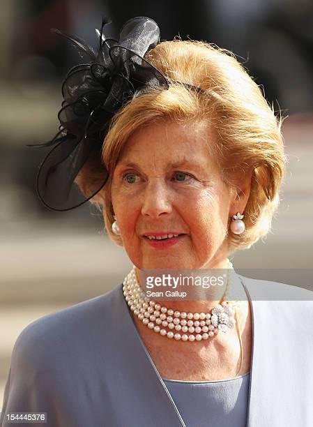 Princess Marie-Aglae of Liechtenstein attends the wedding ceremony of Prince Guillaume Of Luxembourg and Princess Stephanie of Luxembourg at the...