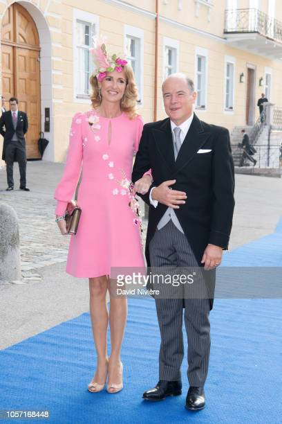 Princess MarieCaroline of Wurttemberg and Count Herve of Andigne arrive at the SaintQuirin Church for the wedding of Duchess Sophie of Wurttemberg...