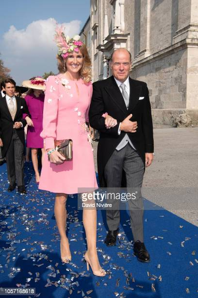 Princess MarieCaroline of Wurttemberg and Count Herve of Andigne leave the SaintQuirin Church after the wedding of Duchess Sophie of Wurttemberg and...
