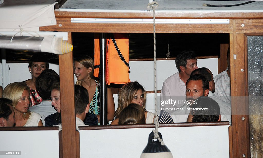 Princess Marie-Chantal Miller, Princess Cristina, Lady Gabriella Windsor, Princess Rosario Nadal of Bulgaria and Prince Haakon of Norway on a ship to attend a dinner for young people at a small greek restaurant, held after the pre-wedding reception at the Poseidon Hotel on August 24 2010 in Spetses, Greece. The small greek Island, three hours from Athens, is gearing up for the Royal Wedding of Prince Nikolaos of Greece and Tatiana Blatnik on August 25. Royals from all over Europe and the world are expected to attend the ceremony. Prince Nikolaos is the second son of King Constantine and Queen Anne-Marie while Tatiana is an events planner for Diane Von Furstenburg in London. Many of the VIP guests are expected to stay in the Poseidon Hotel in the town centre.