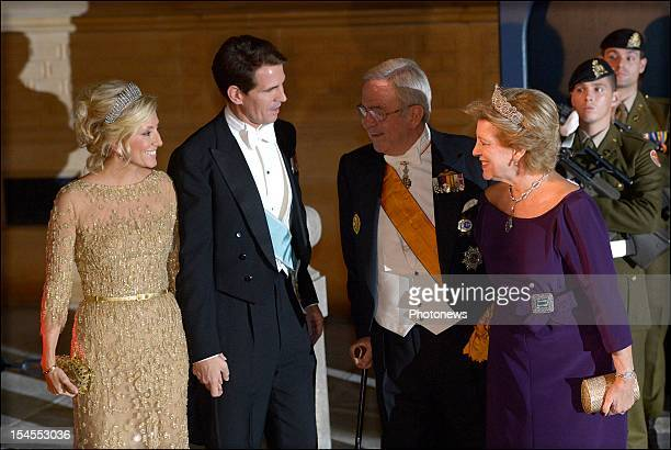 Princess Marie-Chantal of Greece with Prince Pavlos of Greece and King Constantine and Queen Anne-Marie arrive at the Gala Dinner for the wedding of...