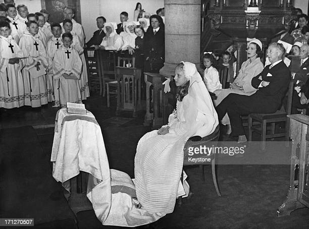 Princess MarieChristine of Belgium receives her First Holy Communion and Confirmation officiated by Bishop Fulton Sheen at the family Chateau...