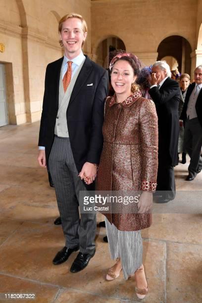 Princess MarieGabrielle de Nassau and her husband Antonius Willms attend the Wedding of Prince JeanChristophe Napoleon and Olympia Von ArcoZinneberg...