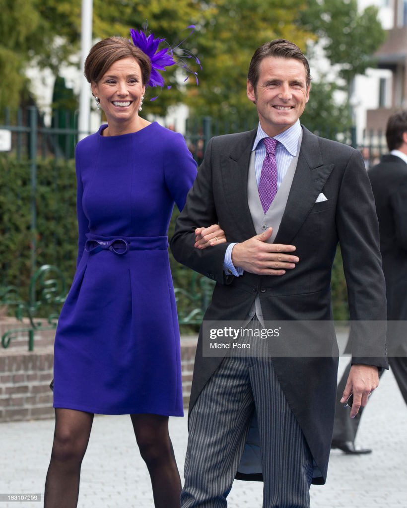 Princess Marilene and Prince Paurits of The Netherlands attend the wedding of Prince Jaime de Bourbon Parme and Viktoria Cservenyak at The Church Of Our Lady At Ascension on October 5, 2013 in Apeldoorn, Netherlands.