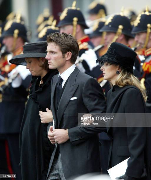 Princess Marilene Prince Maurits and Mabel Wisse Smit new girl friend of Prince Johan Friso leave the Nieuwe Kerk church after the funeral for Prince...
