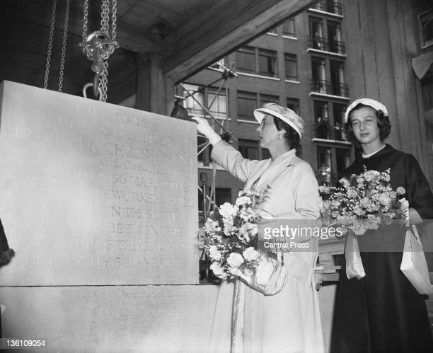 Princess Marina Duchess of Kent accompanied by her daughter Princess Alexandra The Honourable Lady Ogilvy lays the foundation stone of the Sixth...