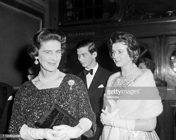Princess Marina Duchess of Kent attends a charity performance of 'The Most Happy Fella' at the Coliseum She is pictured with two of her children...