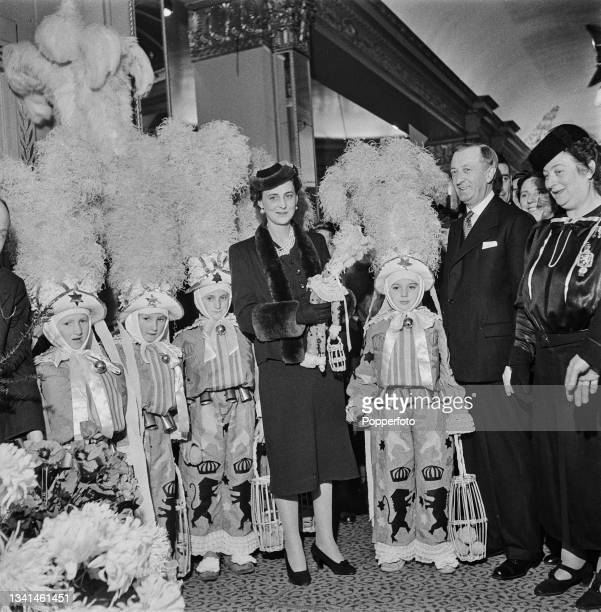 Princess Marina of Greece and Denmark, Duchess of Kent , attends an exhibition of the national costumes of Allied nations at The Dorchester Hotel in...