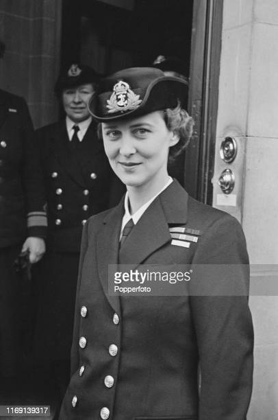 Princess Marina of Greece and Denmark , Duchess of Kent, on her arrival for a visit to the headquarters of the Women's Royal Naval Service in London...
