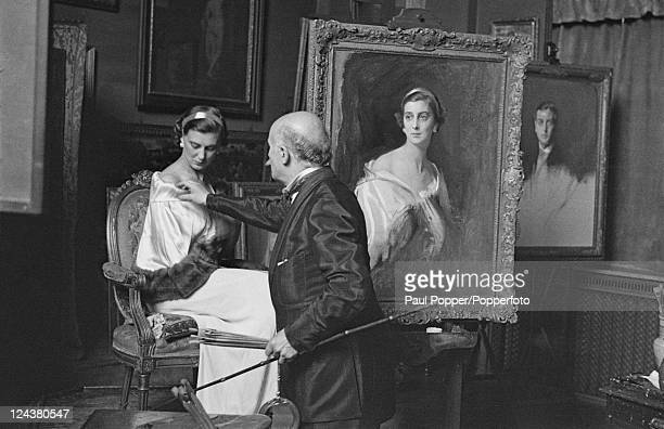 Princess Marina of Greece and Denmark sitting for a portrait by Hungarian artist Philip de Laszlo , 1934.