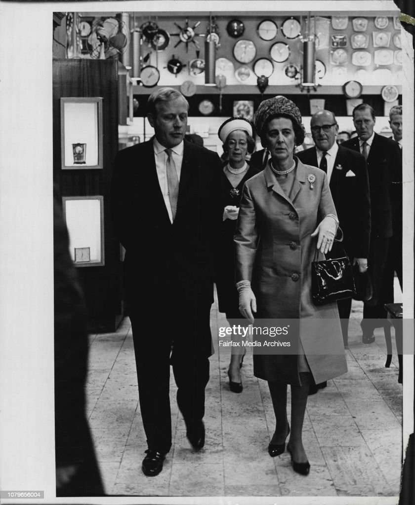 Princess Marina paid an unscheduled visit to David Jones Elizabeth Street store today.Here Princess Marina is escorted into the store by Mr. Charles Lloyd Jones. She visited the Honourable Company of Goldsmiths Exhibition in the store's gallery then had a : News Photo
