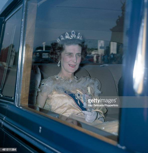 Princess Marina the Dowager Duchess of Kent arriving for dinner at Buckingham Palace in London on 10th July 1962 This image is one of a series taken...