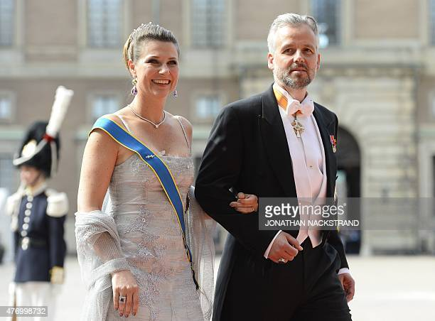 Princess Martha Louise and Ari Behn arrive for the wedding of Sweden's Crown Prince Carl Philip and Sofia Hellqvist at Stockholm Palace on June 13...