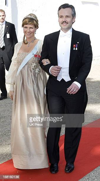 Princess Martha Louise And Ari Behn Of Norway Attend The Wedding Of Prince Joachim Of Denmark And Miss Marie Cavallier At Mogeltonder Church In...