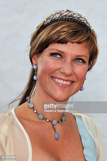 Princess Martha Louise departs after she attended the wedding between Prince Joachim of Denmark and Princess Marie of Denmark Countess of Monpezat at...