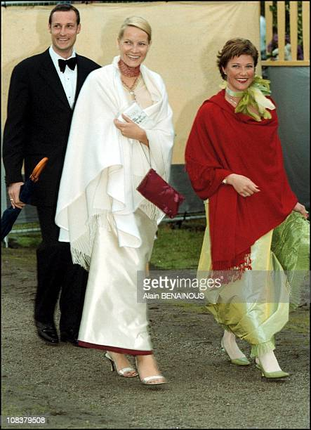 Princess Martha Louise Haakon and Mette Marit in Sweden on June 19 2001