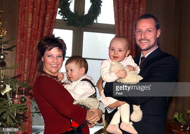 Princess Martha Louise Maud Angelica Princess Ingrid Alexandra and Crown Prince Haakon of the Norwegian Royal Family pose for their annual Christmas...