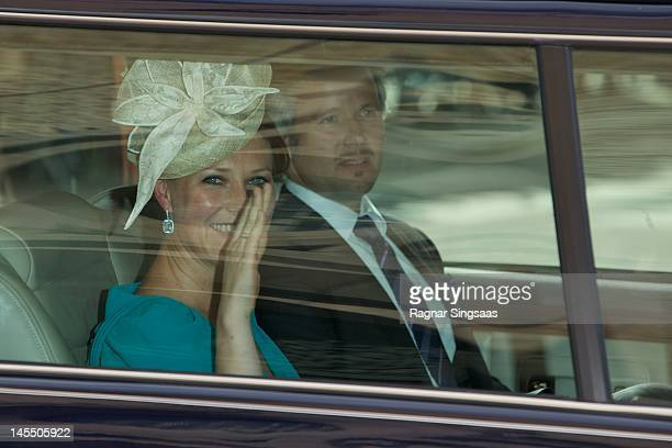 Princess Martha Louise of Norway and Ari Behn attend a church service on the occasion of King Harald and Queen Sonja of Norway's 75th birthdays at...