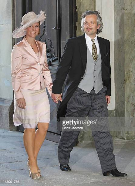 Princess Martha Louise of Norway and Ari Behn attend the christening of new Swedish heir to the throne Princess Estelle Silvia Ewa Mary of Sweden at...