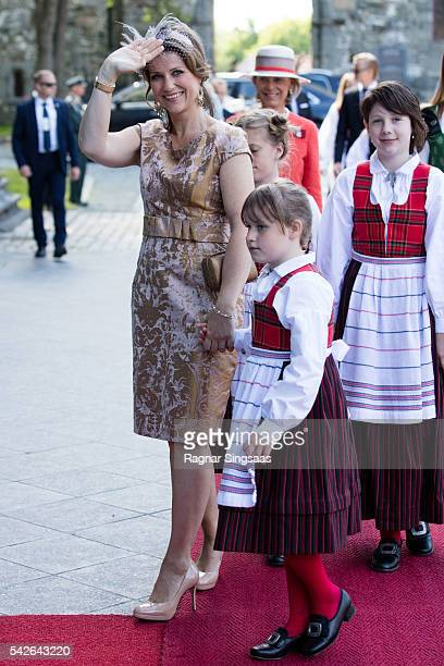 Princess Martha Louise of Norway and Emma Tallulah Behn attend a celebratory church service in the Nidaros Cathedral during the Royal Silver Jubilee...