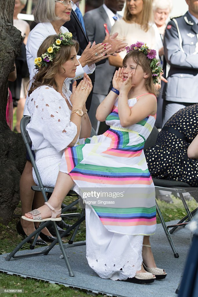 Princess Martha Louise of Norway and Emma Tallulah Behn attend a garden party during the Royal Silver Jubilee Tour on June 23, 2016 in Trondheim, Norway.