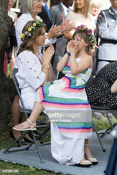 Princess Martha Louise of Norway and Emma Tallulah Behn attend a garden party during the Royal Silver Jubilee Tour on June 23 2016 in Trondheim Norway
