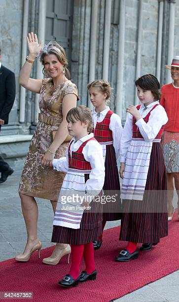 Princess Martha Louise of Norway and her daughters Emma Tallulah Behn Leah Isadora Behn and Maud Angelica Behn attend a service at Nidaros Cathedral...